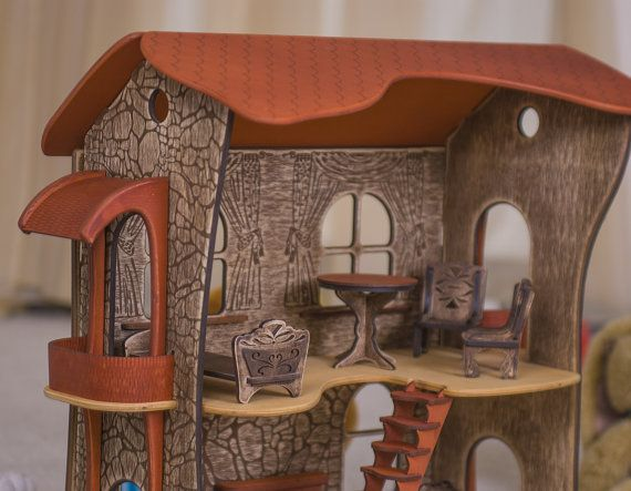 "Wooden dollhouse handmade ""Dwarf's Housing"" by UCreator #woodendollhouse #dollhouse #dollshouse #ucreator"