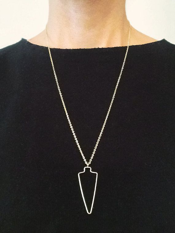 SPEAR necklace, long necklace, geometric necklace, gold plated necklace, minimal necklace, simple necklace, SHAPES, sword necklace, triangle