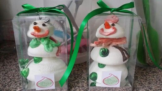 Pure Meringue Snowmen soldiers ready to find a home.. he won't mind if you have a nibble..