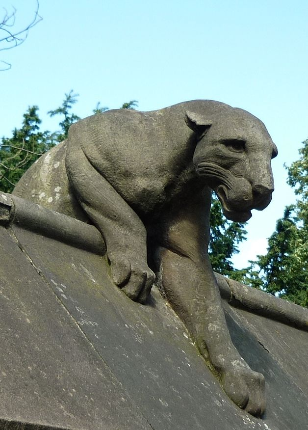 Vulture and Panther on the Animal Wall, Cardiff Castle, Wales by Alexander Carrick (1882-1966). 1931.
