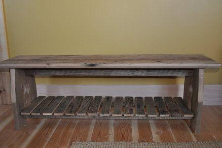 reclaimed barn board bench