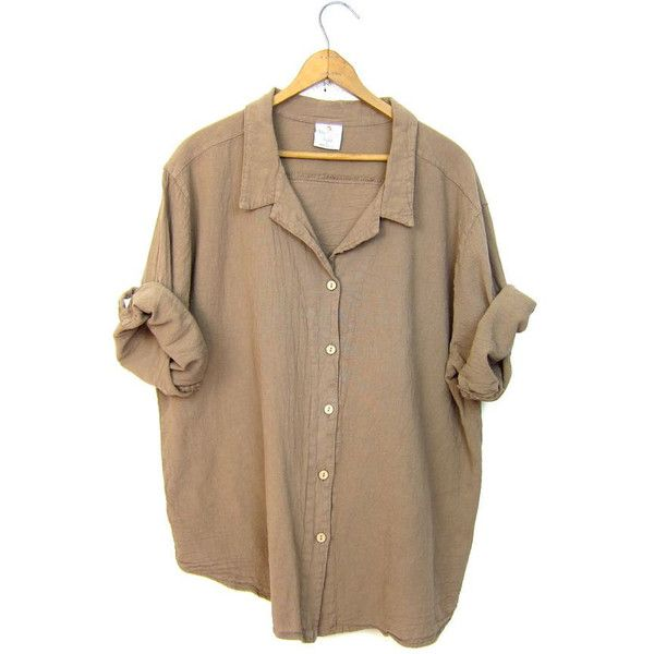 Basic boxy beige blouse light brown button up minimal textured cotton... (630 MXN) ❤ liked on Polyvore featuring tops, button down top, boxy top, brown tops, beige top and button up tops
