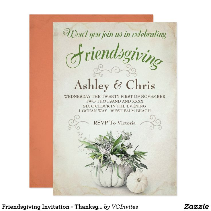 "Friendsgiving Invitation - Thanksgiving This pretty friends giving invitation is the perfect dinner invite for the Thanksgiving season. It features the words ""join us in celebrating friendsgiving"" in green. Couples love the floral art on a vintage background. Customize your invitations online and see them instantly before your place your order."
