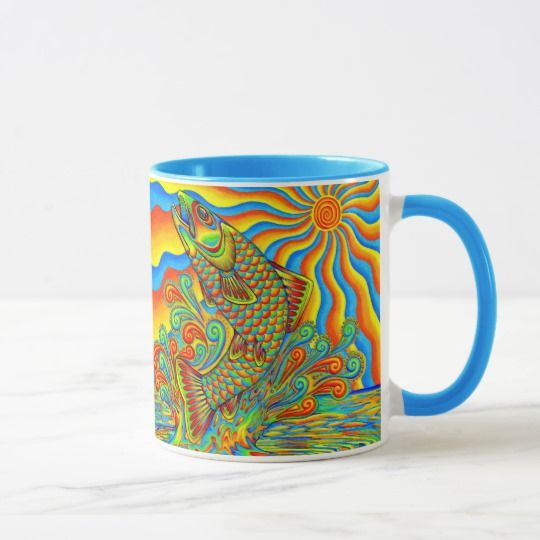 Psychedelic Rainbow Trout Fish mug by Rebecca Wang on Zazzle. Plain white mugs are so boring.  Drink your coffee or tea in style with these colorful and unique mugs!  Available in multiple styles and colors.