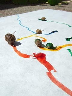 "You can dip snails in non-toxic, water based paints and have them ""paint"" for you. Not sure how to scale this up or pull this off in an urban environment but it's an interesting thought/potential technique."