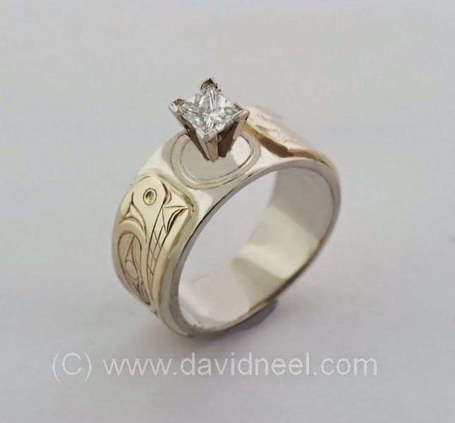 Bear Ring in white & yellow gold with a Princess Cut diamond.  #nativeamerican #nativeart #firstnations #diamondring #kwakiutlart #haidaart