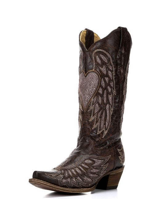 Corral Women's Brown Wing and Heart Crystals Inlay Boot - A2652 I HAVE to have these