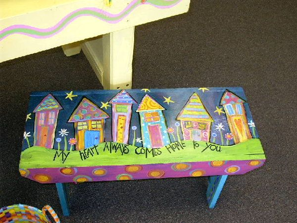 Cute Painted Bench Home Dec Ideas Pinterest