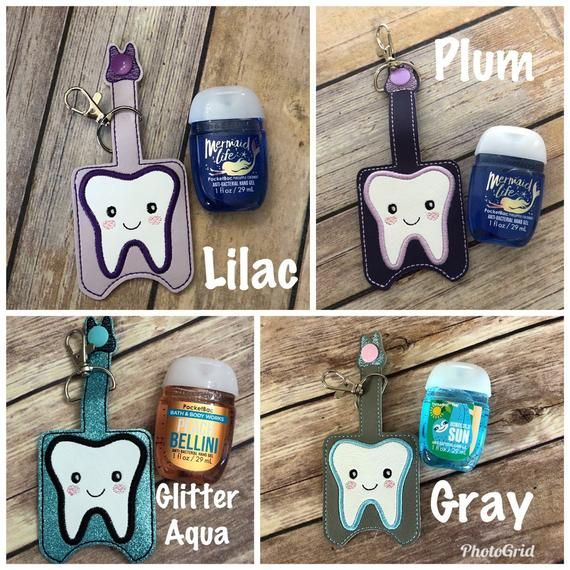 Tooth Embroidered Sanitizer Holder Dental Hand Sanitizer Key