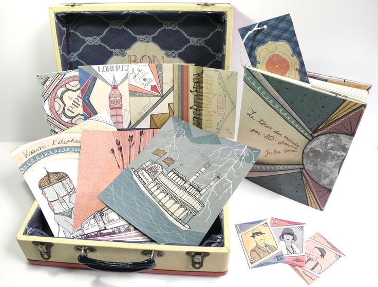 "Illustration project based on the book ""Around the world in 80 days"" (Jules Verne).  Book, bookmark, set of postcards, poster, prints and game cards. All contained in a vintage suitcase."