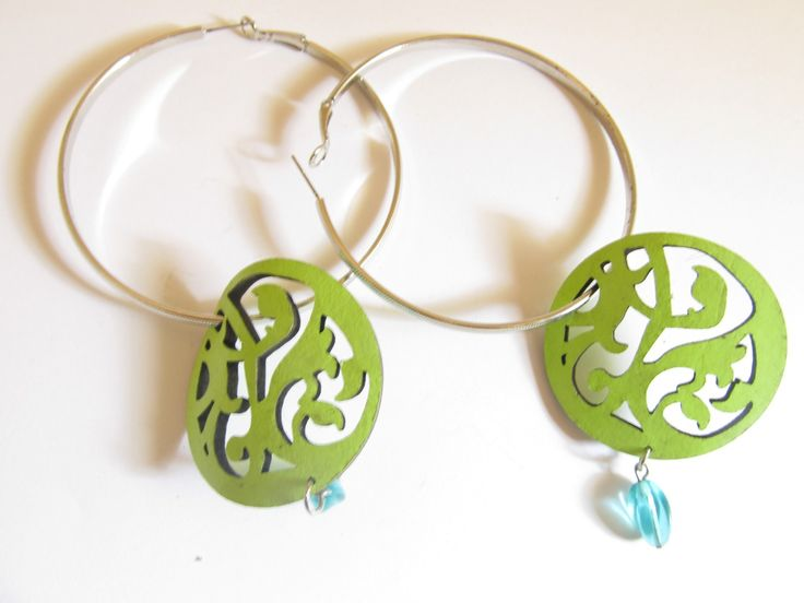 Handmade laser cut leather earrings (1 pair)  Made with light green leather filigree, silver tone big antiallergic earring hoops and glass beads.