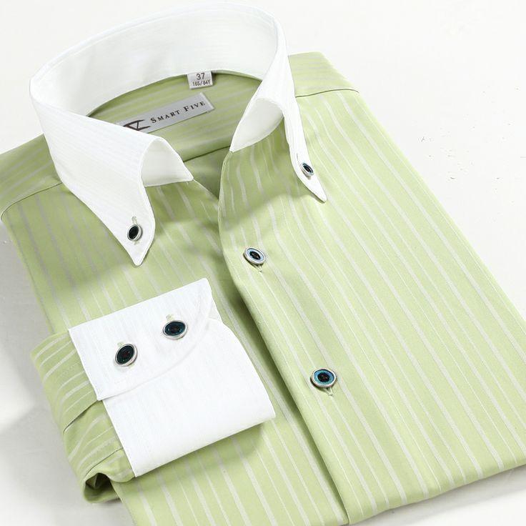 Smartfive men's clothing business casual shirt green 100% cotton fashion long-sleeve shirt $60.94