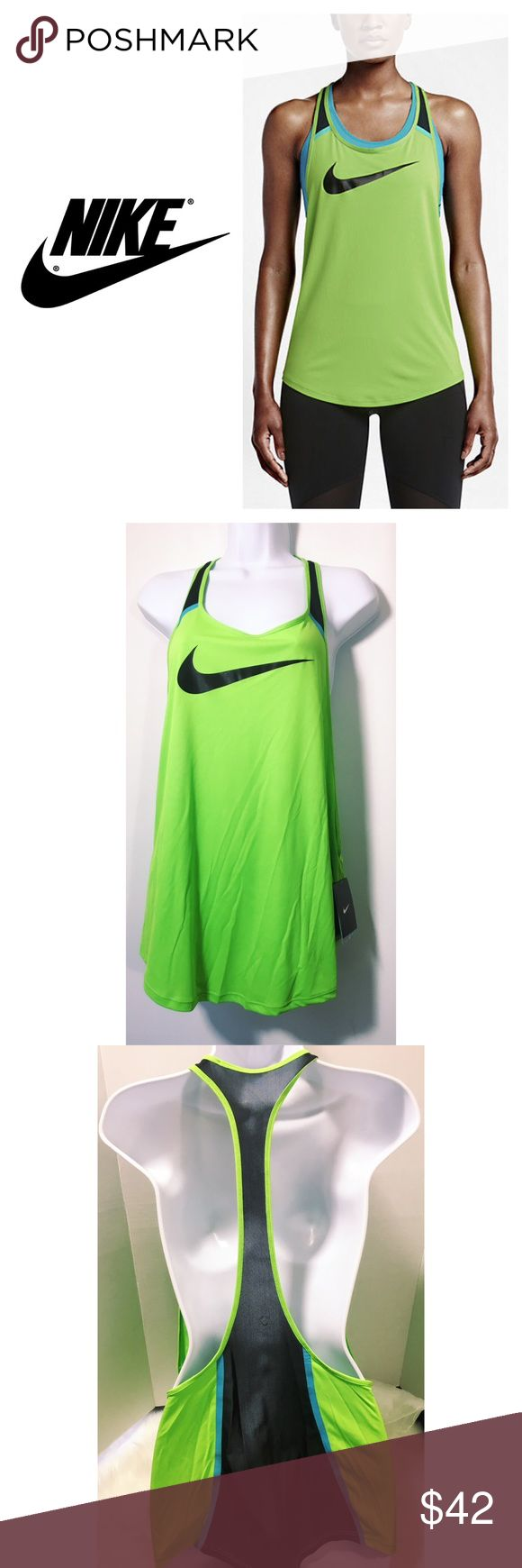 """Nike Women's Flow Graphic Training Tank Green L Great Neon Green/Black/Blue training tank by Nike. All of the Black sections are mesh, allowing great air flow. Dri-Fit Moisture wicking Technology. Polyester/Spandex/Elastane. Sleeveless. Size Large. ( Underarm to underarm 22"""", approx. 26"""" length) Loose fitting. Rounded Hem. Brand new with tags. Nike Tops Tank Tops"""