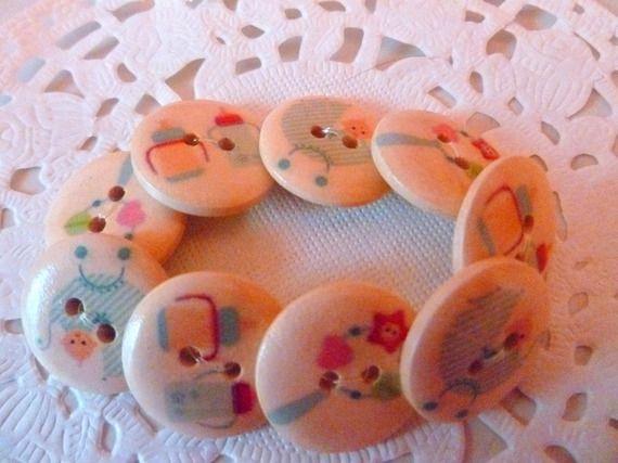 Bracelet élastique avec boutons en bois sur le thème Bébé