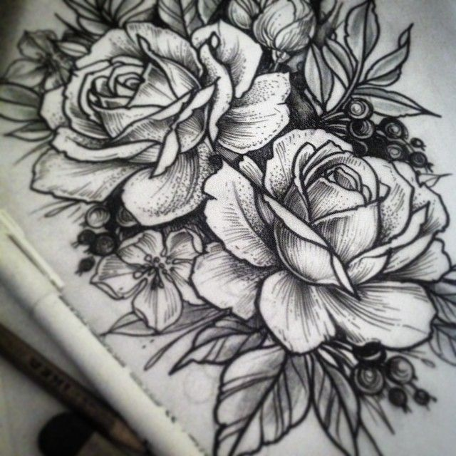 Like the open shape of the roses, and the shape of the leaves