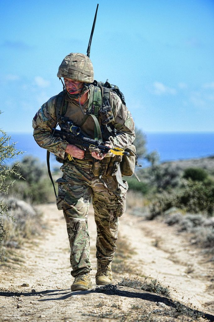 An Army Reservist soldier from 6 Rifles on patrol during Exercise Lion Star in Cyprus.