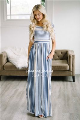 Periwinkle Stripe Pocket Maxi Dress, Modest Dress, Bridesmaids Dress, Church Dresses, dresses for church, modest bridesmaids dresses, best modest boutique, modest womens clothing, affordable modest dresses, cute modest clothes