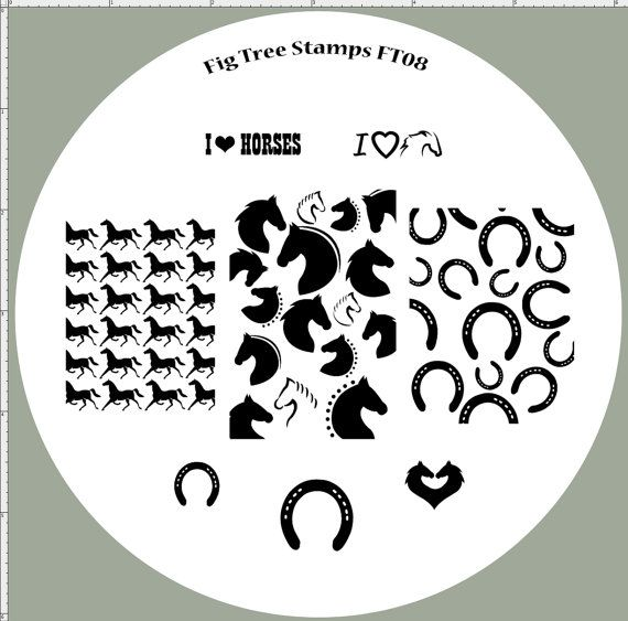 FT08 Horse Nail Stamping Plate, Full Nail Designs, Horse Shoes, I Love Horses. Handmade Nail Art Stamp Plates, Custom Engraved