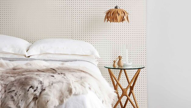 Masonite pegboard headboard