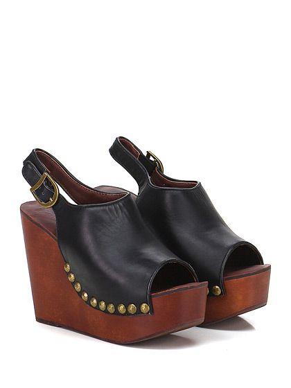 JEFFREY CAMPBELL - Zeppe - Donna - Zeppa in pelle con borchie su profilo e cinturino alla caviglia. Suola in gomma, tacco 115, platform 45 con battuta 70. - BLACK - € 133.00