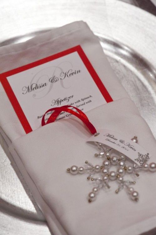 Napkin | Menu Card | Ornament with Place Card for Winter Wedding/Event | seen this done in green and gold too! #targetornaments