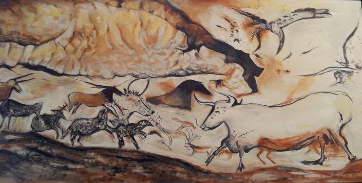 Dipinto primitivo Grotte in francia 'LASCAUX' in VENDITA  € 400,00
