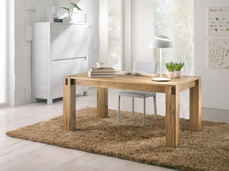 Sedit Bio table  Extending table with solid oak legs, section 12,5x12,5 cm, veneered oak 4 cm thick. Finish available in open pore natural brushed, painted antique oak (oxidized color) or white brushed open pore. Bio is a table that is combined with any type of chair also glossy lacquered. The extendible version the extensions are 55 cm laminate to match the floor.  http://www.industryinteriors.it/en/prod/living-room/table/sedit-bio-table.html