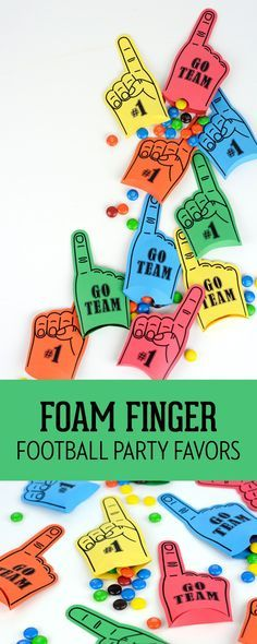 Learn how to make these adorable Foam Finger Football Party Favors on Love the Day. Perfect for tailgating and football parties!