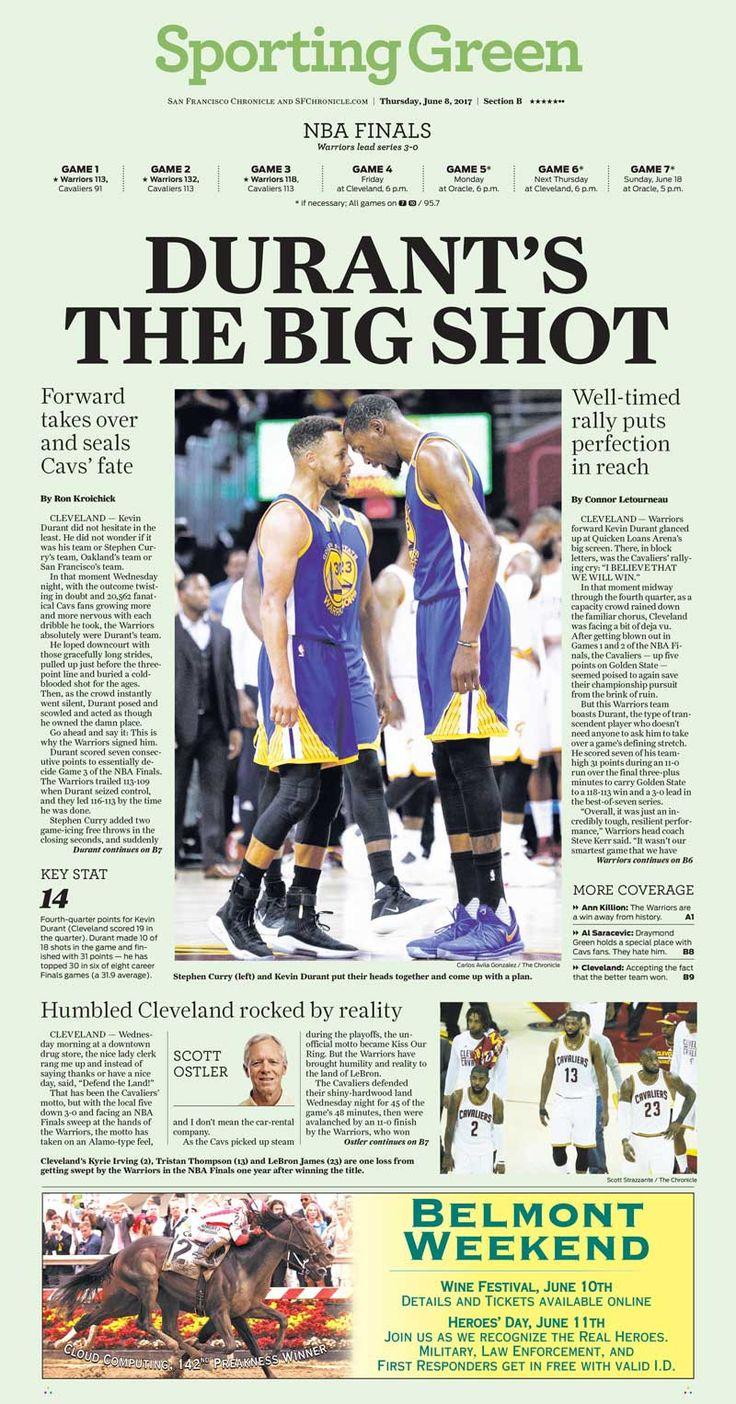Warriors 2017 NBA finals Game 3 newspaper 6/8/2017