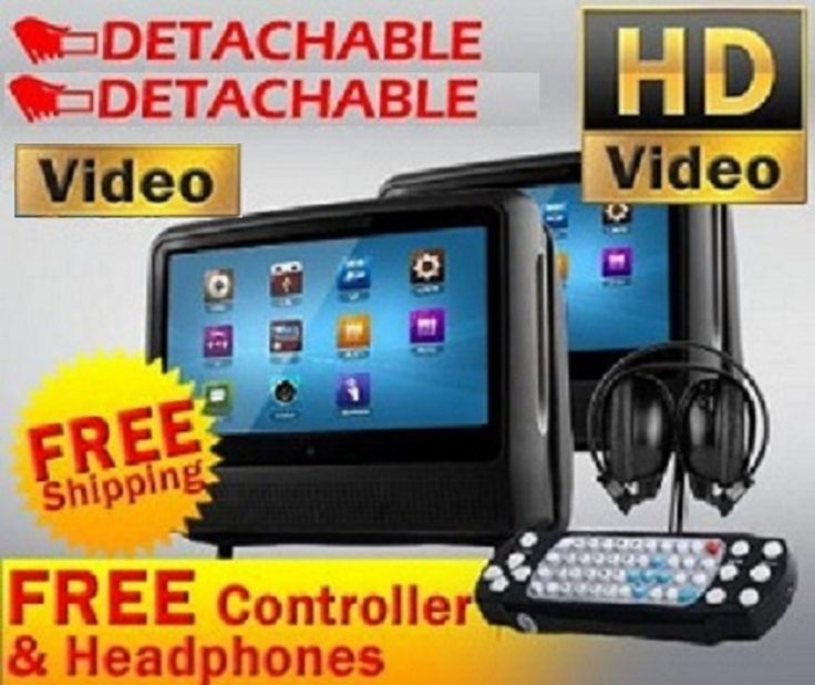 "2017 Black Pair 9"" High Resolution Digital Screen Detachable Headrest Dvd Player Monitors,Games and Wireless Headphones + Cigarette Adapters. Built-in region free DVD player,9"" DIGITAL LCD.Touch screen. Aspect ratio: 16:9 wide screen 800 x 480,Color system PAL/NTSC. Supports DVD,CD,CDG,MP3,WMA,JPG,AVI,DIVX and many more. NEW! 32 bit video games built inside & 8 bit video games with wireless controllers. Wireless FM radio transmit function to your vehicle stereo system Built-in stereo..."