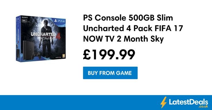 PS Console 500GB Slim Uncharted 4 Pack FIFA 17 NOW TV 2 Month Sky Cinema Pass, £199.99 at GAME