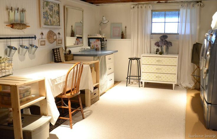 Basement craft/laundry room
