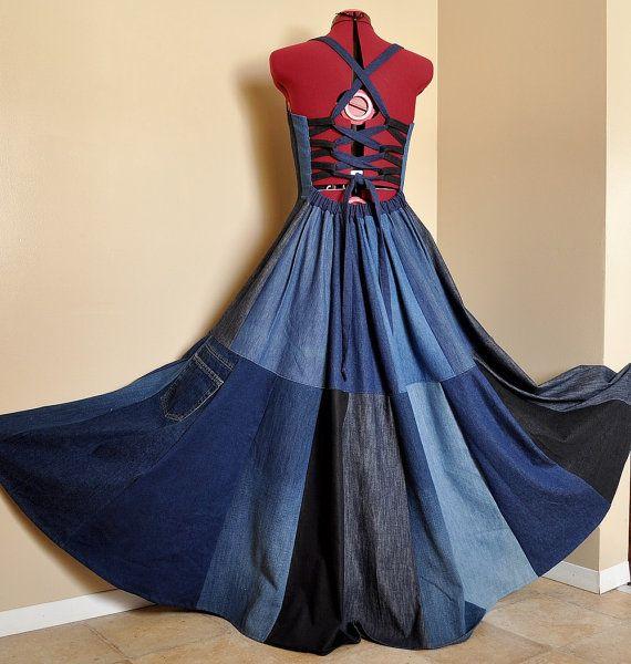 New Blue Bloom - Long Patchwork Denim Dress, Ooak bohemian gypsy dress, Flower applique, Recycled chic, Best fit sizes - M, L, XL