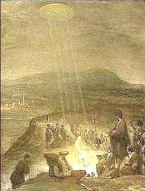 """""""The Baptism of Christ"""", by Aert de Gelder, painted in 1710 and hangs in the Fitzwilliam Musuem, Cambridge. A disk shaped, UFO type object is shining beams of light down upon John the Baptist and Jesus."""