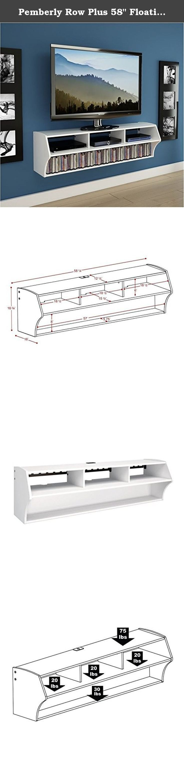 """Pemberly Row Plus 58"""" Floating TV Stand in White. The minimalist, off-the floor design of the Plus eliminates the need for a separate wall-mount TV bracket and is the perfect pairing for any flat screen TV up to 60"""". At 58 inches wide, it boasts three compartments for A/V components and a bottom shelf for media with room for 137 Blu-Ray Discs or 93 DVDs. Cables & power bars can be neatly concealed to maintain a clean, modern look. When installed according to the manufacturer's directions..."""