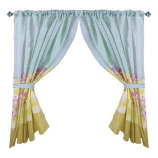 """Touch of Floral Contemporary 34""""x54"""" Fabric Window Curtain with Tie-Backs"""