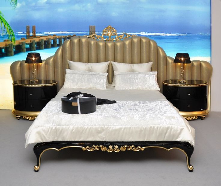 Florence King Size Bed With Gold Leaf