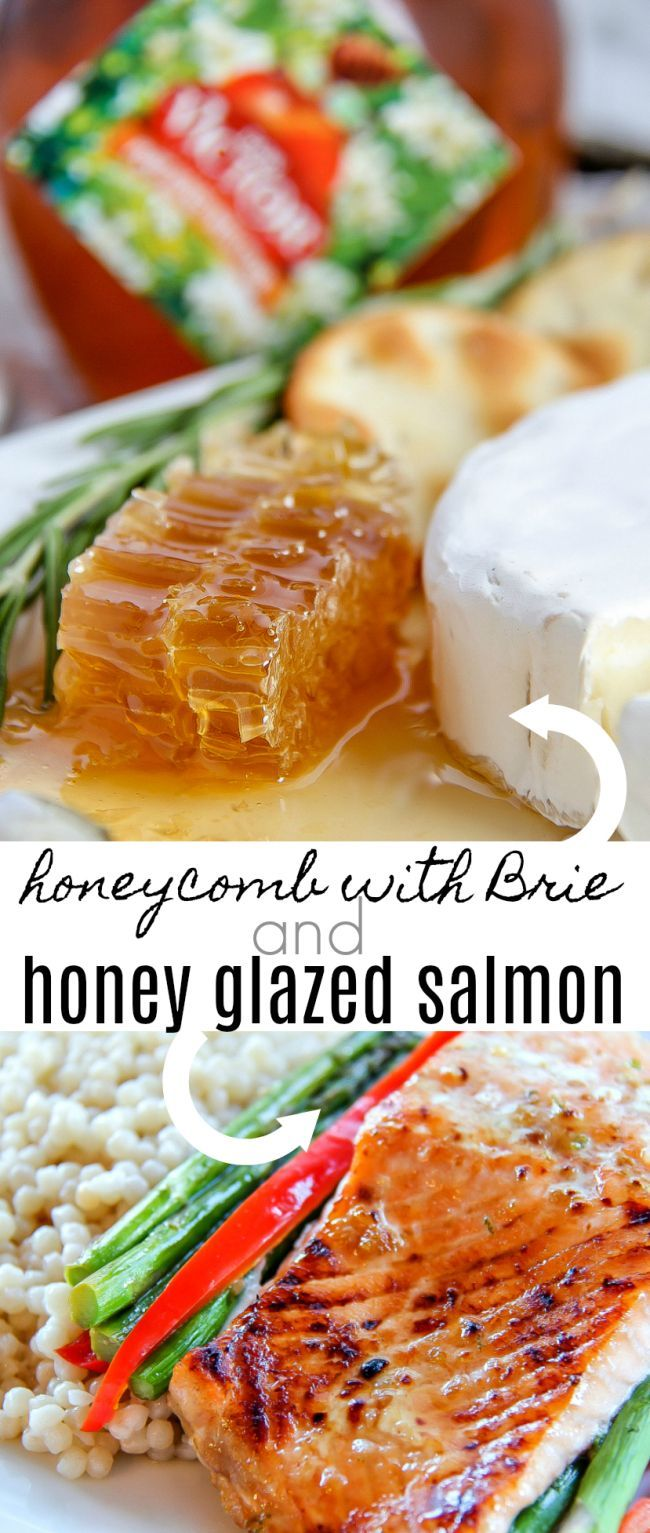 Honeycomb and Brie served with honey glazed salmon foil packets make the perfect meal when entertaining. #donvictorhoney #happyhealthyhoney #ad