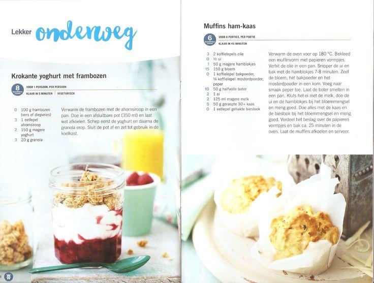 Weight Watchers - Krokante yoghurt met frambozen // Muffins ham-kaas