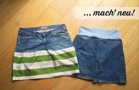 1 alte Jeans: 2 neue Jeansröcke