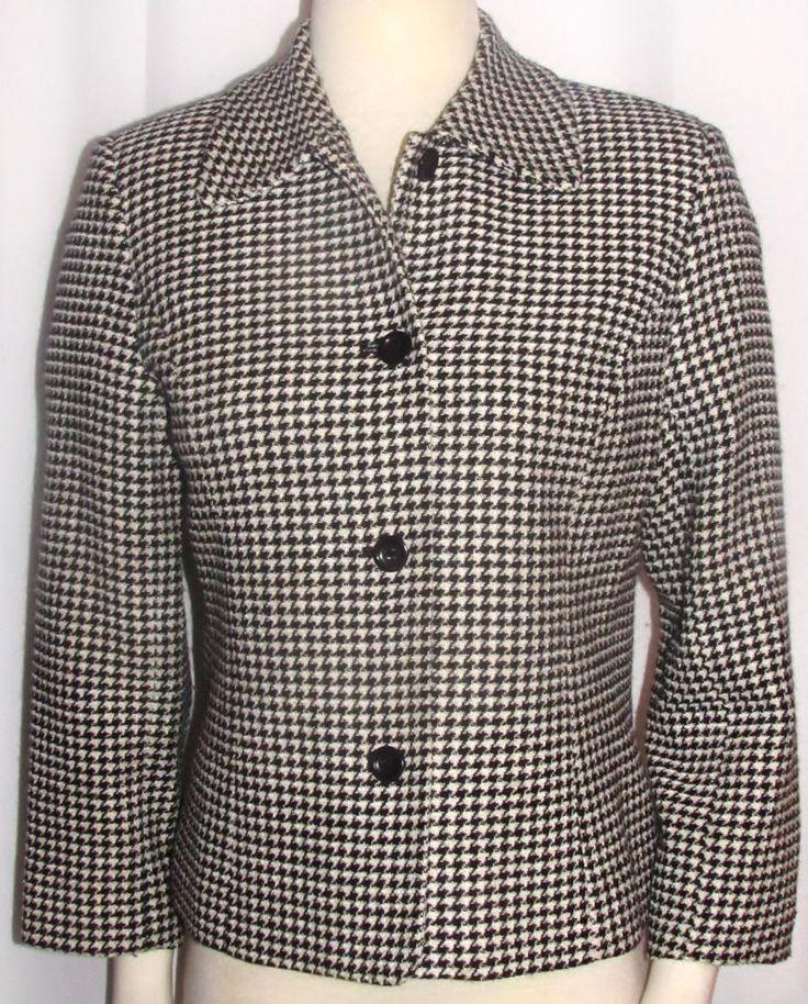 Womens Ladies TALBOTS Black & Soft White Houndstooth Lined Blazer Jacket 6P  #Talbots #DressJacket