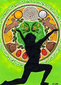 Oestre The Springing Goddess Art Gift Card by Julie Collet