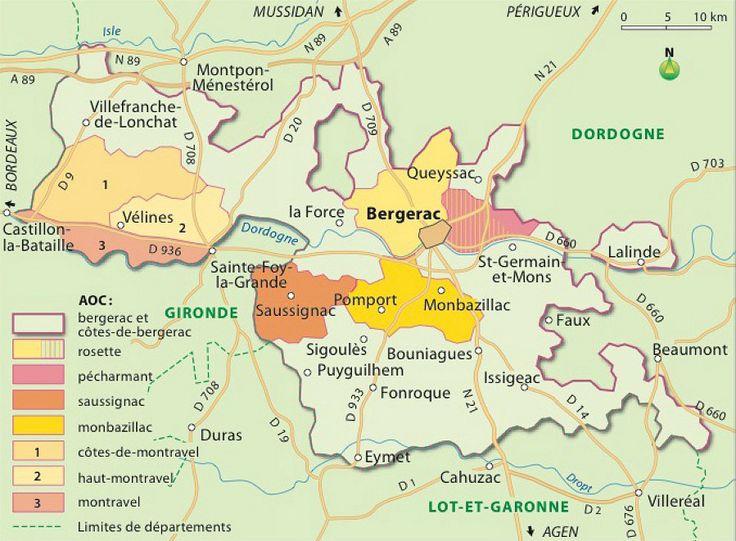 Map of the Côtes-de-duras vineyards of South West France near Bergerac