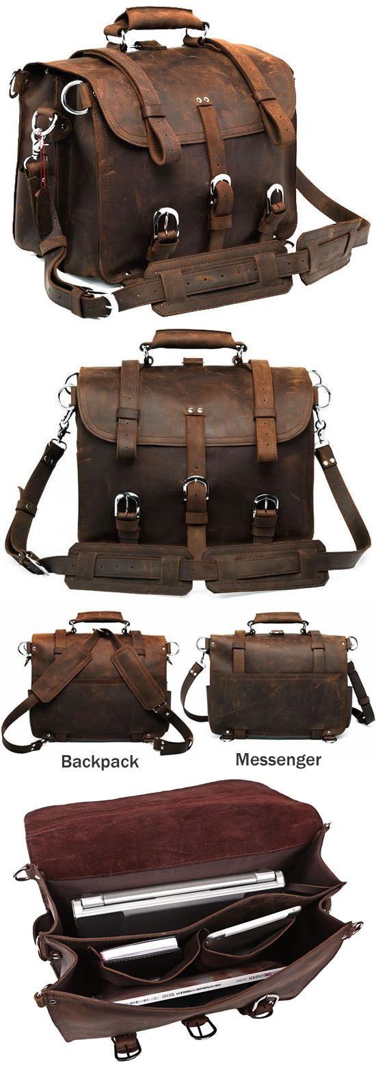 Men's Large Vintage Leather Briefcase / Leather Satchel / Leather Travel Bag - 2 ways: backpack / messenger
