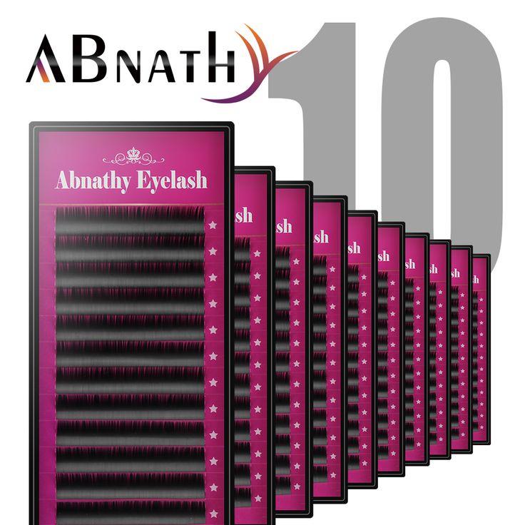 Abnathy lashes 10pcs mixed length human hair permanent fake eyelashes extensions natural thick false eyelashes long lash