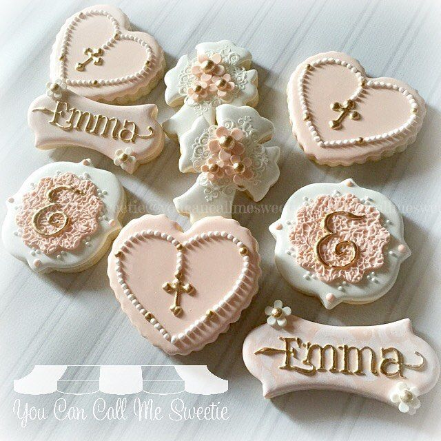 "1,605 Likes, 57 Comments - Sandie (@youcancallmesweetie) on Instagram: ""Baptism cookies pretty in peach for Emma's special day :) #decoratedcookies #decoratedsugarcookies…"""