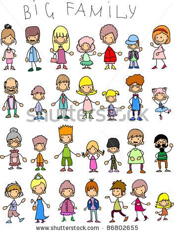 Doodle members of large families - stock vector