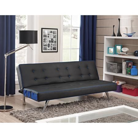 Contrast Piping Tufted Faux Leather Futon Sofa Bed Multiple Colors Com