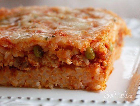 Sicilian Rice Ball Casserole #casserole #rice