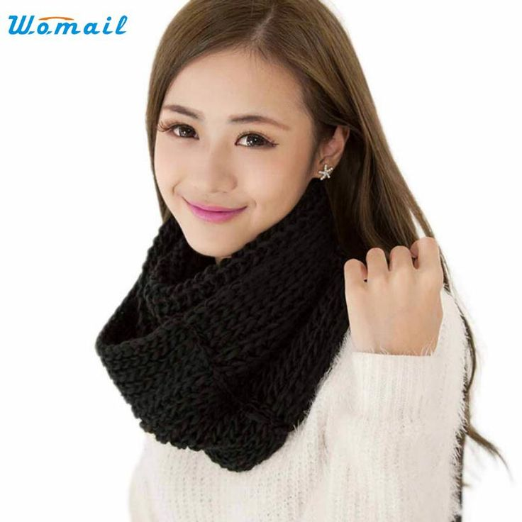 Amazing Brand New Fashion Solid Color Women Winter Scarves Warm 2 Circle Knitted Ring Scarf Shawl Neck Warmer